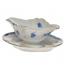 Chinese Bouquet Blue Gravy Boat W/fixed Stand 0.75PT