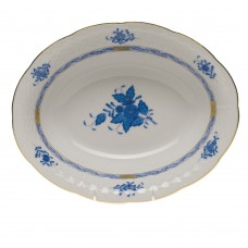 "Chinese Bouquet Blue Oval Vegetable Dish 10""L X 8""W"