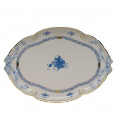 "Chinese Bouquet Blue Ribbon Tray 15.75""L X 11""W"