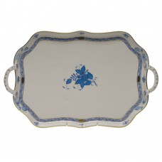 "Chinese Bouquet Blue Rec Tray W/branch Handles 18""L"