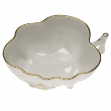 "Golden Edge Deep Leaf Dish 4""L x 3""W"
