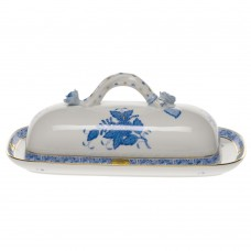 """Chinese Bouquet Blue Butter Dish W/branch 8.5""""L"""